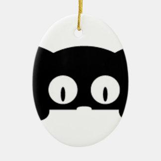 black kitten good looking black color ceramic oval ornament