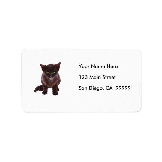 Black Kitten, Green Eyes, Pink Tongue
