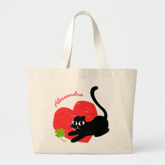 Black Kitten with Heart and Lucky Four Leaf Clover Large Tote Bag