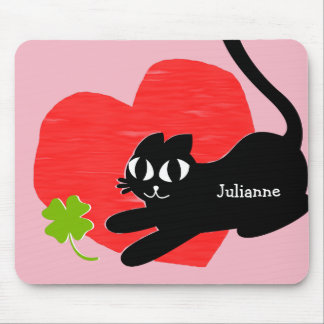 Black Kitten with Heart and Lucky Four Leaf Clover Mouse Pad