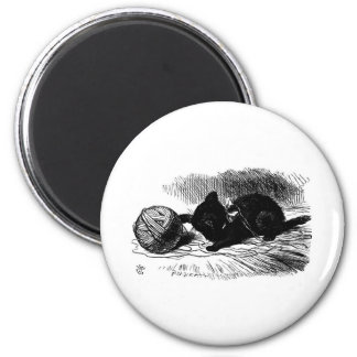 Black Kitten with Twine Artwork Magnet