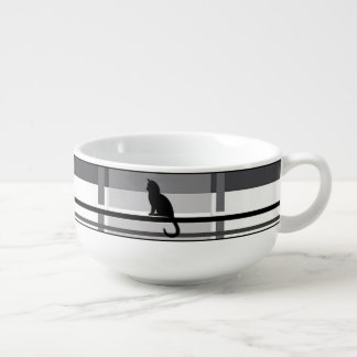 Black Kitties Gray Plaid Soup Mug