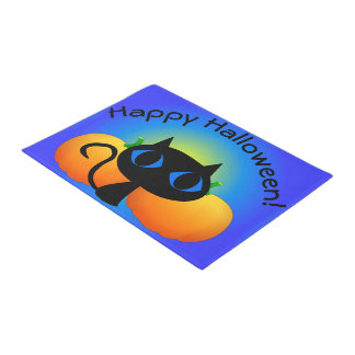 Black Kitty and Pumpkins on Blue Doormat