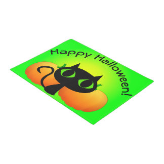 Black Kitty and Pumpkins on Green Doormat