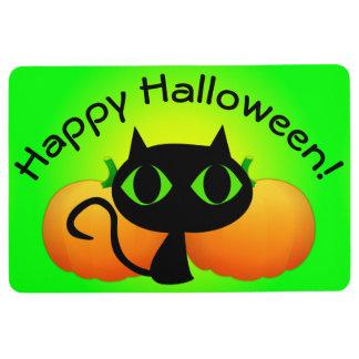 Black Kitty and Pumpkins on Green Floor Mat