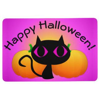 Black Kitty and Pumpkins on Pink Floor Mat