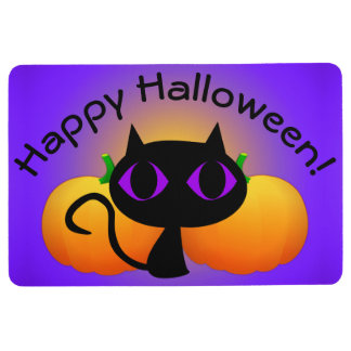 Black Kitty and Pumpkins on Purple Floor Mat