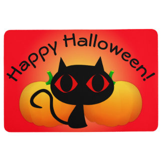 Black Kitty and Pumpkins on Red Floor Mat