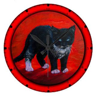 Black kitty cat large clock