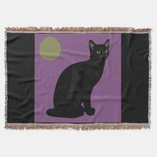 Black Kitty in the Vortex Throw Blanket