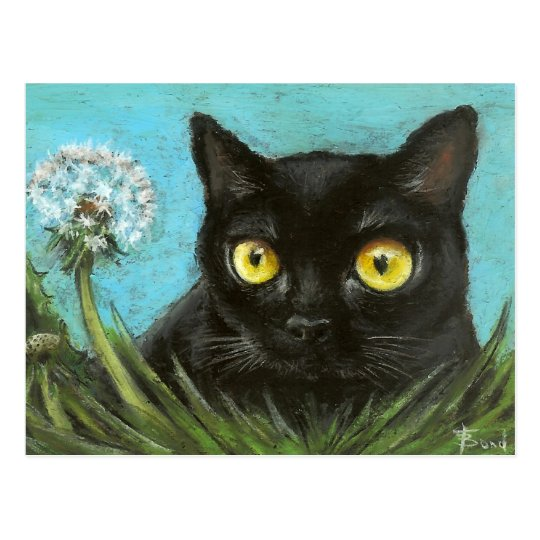 Black kitty postcard