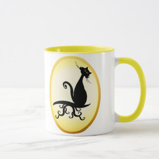 Black Kitty Watching You Oval Mugs