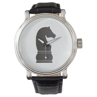 Black knight chess piece wrist watch