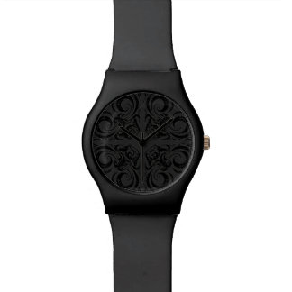 Black Knight Elegant Pattern Timepiece Wrist Watch