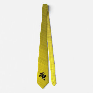 BLACK KNIGHT-TIE- ON BRUSHED GOLD TIE