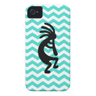 Black Kokopelli Turquoise Zigzag iPhone 4 Case