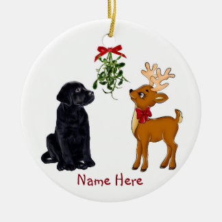 Black Lab and Reindeer Christmas Ornament
