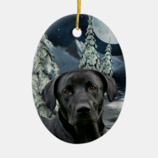 Black lab ceramic oval ornament