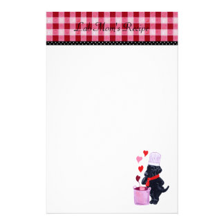 Black Lab Chef Recipe Stationary Gingham Stationery