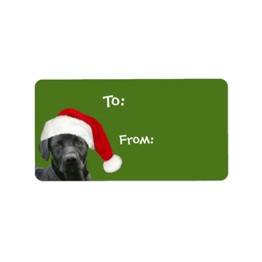 Black lab Christmas gift Label