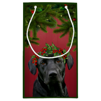 Black Lab Christmas Small Gift Bag