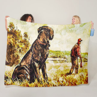 Black Lab Dog Duck Training Art Fleece Blanket