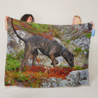 Black Lab Dog Hunting Acrylic Art Fleece Blanket