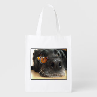 BLack Lab Dog With Butterfly Grocery Bags