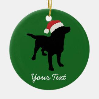Black Lab Dog with Christmas Santa Hat Round Ceramic Ornament