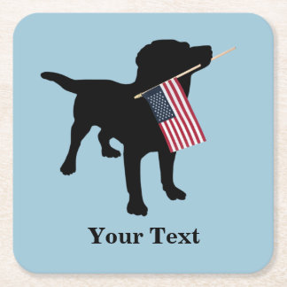 Black Lab Dog with USA American Flag, 4th of July Square Paper Coaster