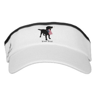 Black Lab Dog with USA American Flag, 4th of July Visor