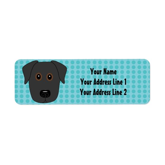 Black Lab Face with Blue Dots Background