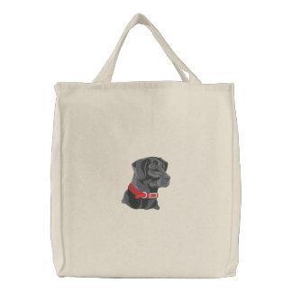 Black Lab Head Embroidered Bag