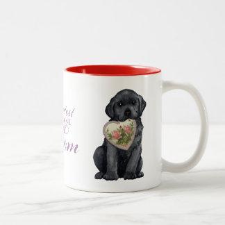 Black Lab Heart Mom Two-Tone Coffee Mug