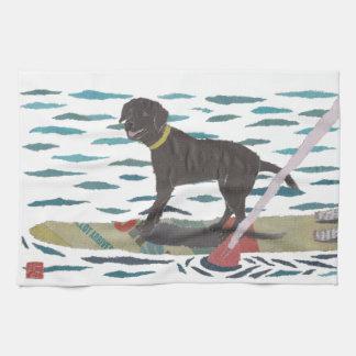 Black Lab, Labrador Retriever, Beach Dog Kitchen Towel