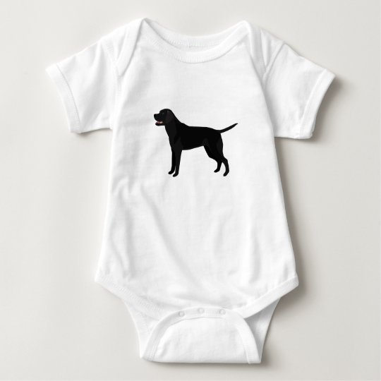 Black Lab - Labrador Retriever Breed Silhouette Baby Bodysuit
