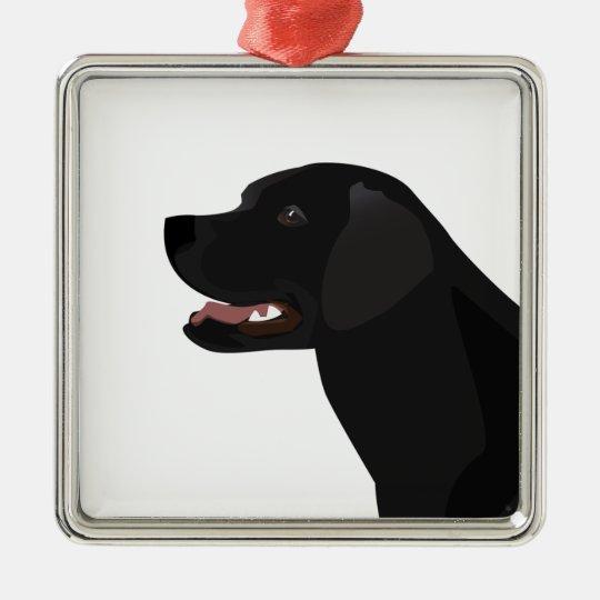 Black Lab - Labrador Retriever Breed Silhouette Metal Ornament