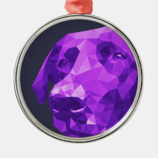 Black Lab Low Poly Art Silver-Colored Round Ornament