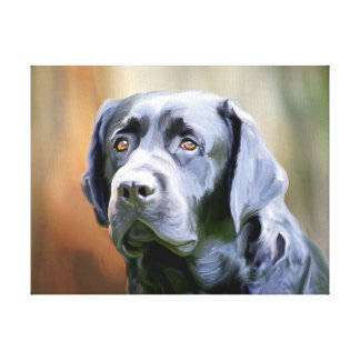 Black Lab Oil Painting Labrador Retriever Dog Art Canvas Print