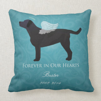 Black Lab Pet Memorial Sympathy Pet Loss Design Throw Pillow