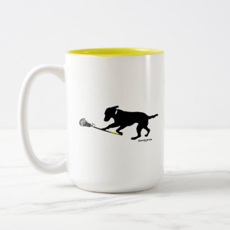 Black Lab Playing Lacrosse 15 oz Two-Tone Mug