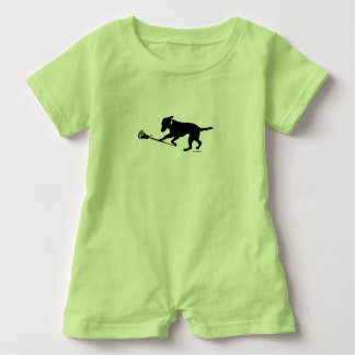 Black Lab Playing Lacrosse Baby Romper