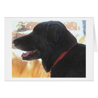 Black Lab Portrait - Ranch Dog Lover - Blank Card