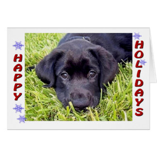 Black Lab Puppy Happy Holidays Card