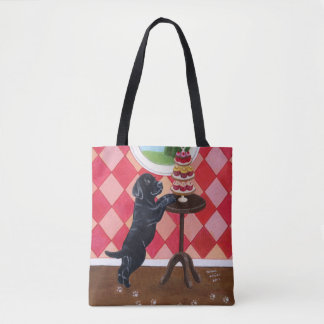 Black Lab Puppy with Cupcake Tote