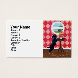 Black Lab Puppy with Cupcakes Business Card
