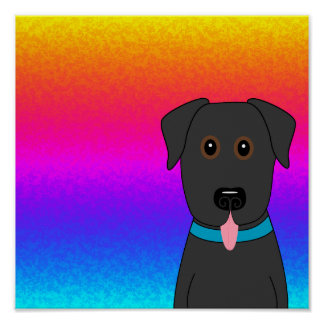 Black Lab Rainbow Poster