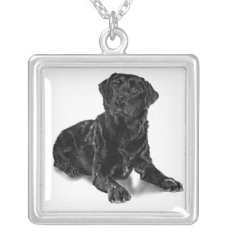 Black Lab Silver Plated Necklace