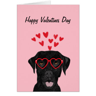 Black Lab valentines day card - labrador retriever