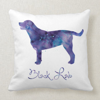 Black Lab Watercolor Throw Pillow